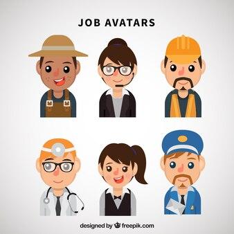 Pacchetto divertente di avatars lavoratori piatti