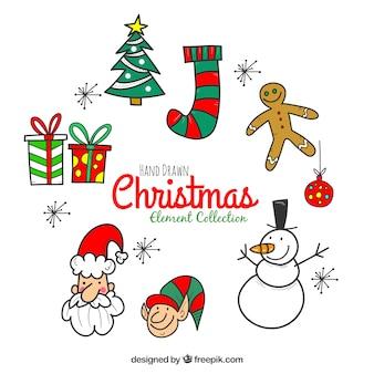 Pacchetto moderno di divertenti elementi natali