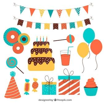 Pacchetto piano di ornamenti colorati di compleanno