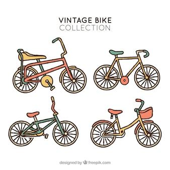 Pacchi disegnati a mano di biciclette retrò