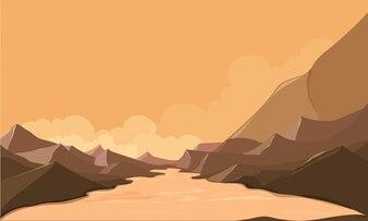 Paesaggio di natura con montagne e fiume.