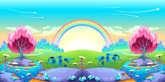 Paesaggio di sogni con arcobaleno Illustrazione di cartone animato vettoriale
