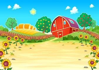 Paesaggio divertente con la fattoria e girasoli fumetto illustrazione vettoriale