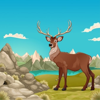 Paesaggio montano con l'illustrazione di cervo Vector cartoon