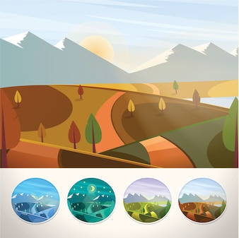 Paesaggio montano in autunno stagione