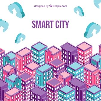 Paesaggio urbano con edifici isometrici