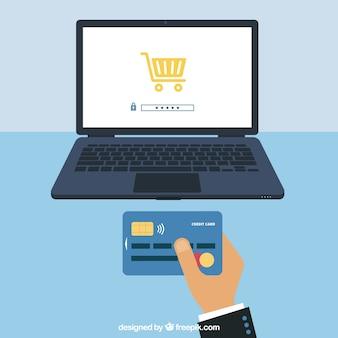 Pagamento online, carta e computer