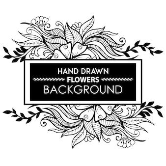 Pagina in bianco e nero mano disegnata cornice floreale