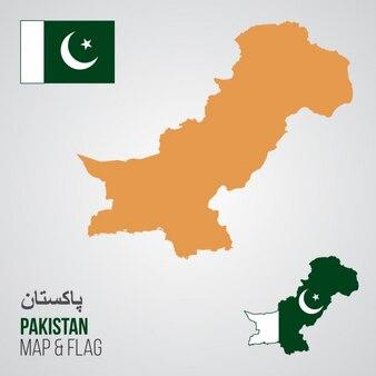 Pakistan Mappa e bandiera