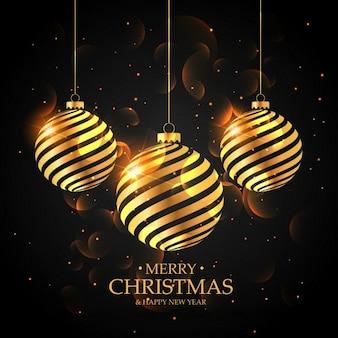 Palle di natale d'oro su sfondo nero Buon auguri di Natale