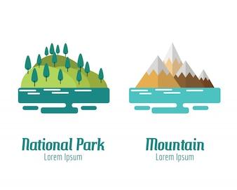 Parco nazionale e paesaggio montano. elementi di design piatto. illustrazione vettoriale