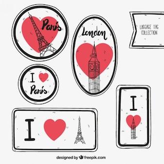 Parigi e Londra etichette per il bagaglio