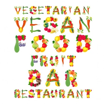 Parole in vettoriale isolato elementi di stile vegan