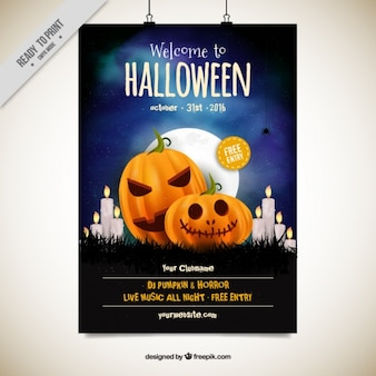 Party poster Halloween con zucche e candele