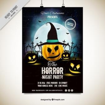 Party poster Halloween di zucca con il cappello della strega