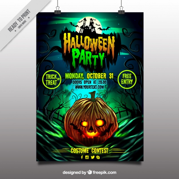 Party poster Halloween di zucca