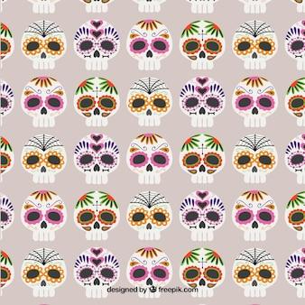Pattern con teschi di zucchero colorati