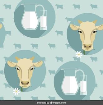 Pattern con teste di mucca e latte brocca