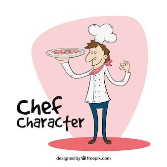Personaggio del cuoco unico con pizza deliziosa in stile disegnato a mano
