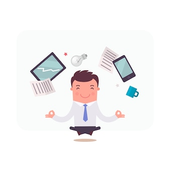 Personaggio di uomo d'affari meditando