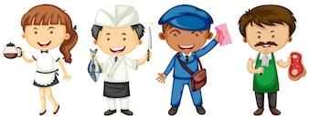 Persone che fanno illustrazione di posti di lavoro diversi