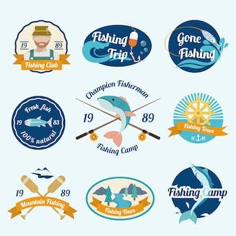 Pesca, campi, club, esterno, tour, etichetta, set, isolato, vettore, illustrazione