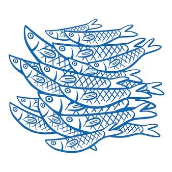 Pesci su sfondo bianco