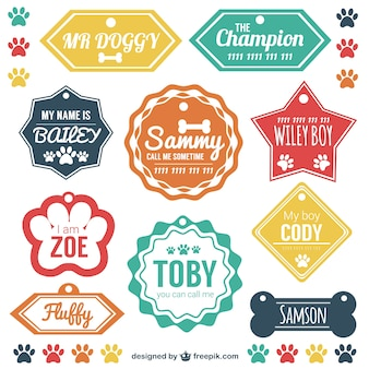 Pet tag di identificazione vector set