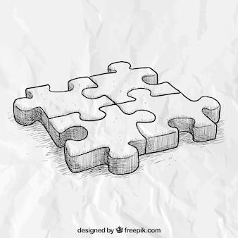 Pezzi del puzzle disegnato a mano