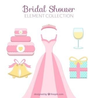 Piatti doccia accessori da sposa in colori pastello