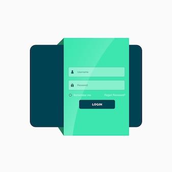 Piatto modello interfaccia utente di accesso di progettazione verde