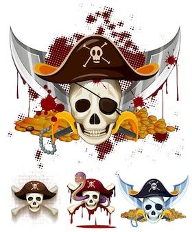 Pirata logo tema con teschi