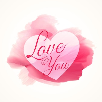 Pittura ad acquerello astratto rosa con forma di cuore e amo testo