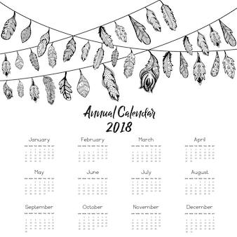 Piuma disegnata a mano con calendario delle corde 2018