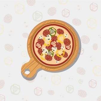Pizza sullo sfondo