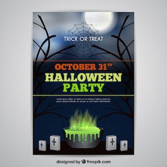 Poster da party di Halloween con calderone
