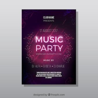 Poster del partito con le luci al neon luminose