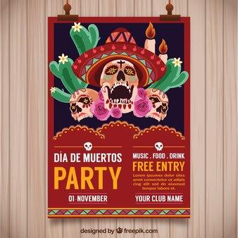Poster del partito messicano con i teschi creepy