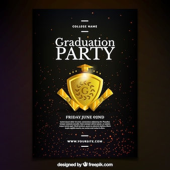 Poster di manifestazione di graduazione con scudo dorato