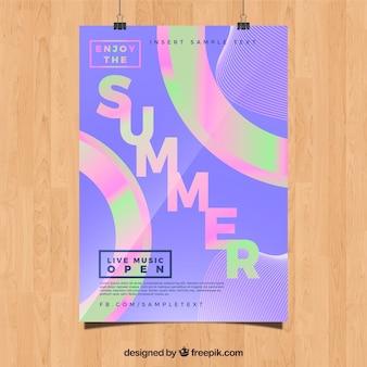 Poster holografico di festa estiva