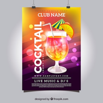 Poster luminoso di cocktail colorato luminoso