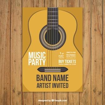 poster modello party music con la chitarra