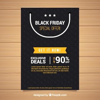 Poster nera friday con borsa della spesa