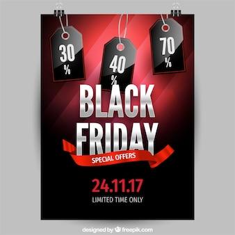 Poster nero friday con etichette realistiche