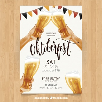 Poster Oktoberfest con quattro birre