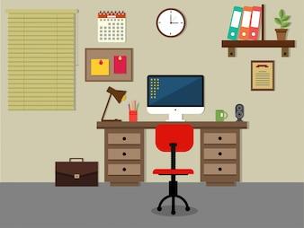 Posto di lavoro ordinata con computer e scrivania in legno