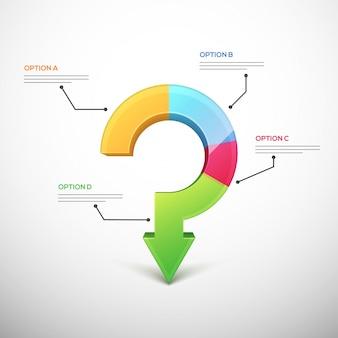 Presentazione del modello di infographic aziendale con 4 passaggi. Freccia a domanda interrogativa.