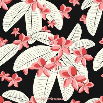 Priorità bassa del fiore dell'annata con foglie disegnate a mano