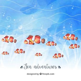 Priorità bassa dell'acquerello con i pesci graziosi