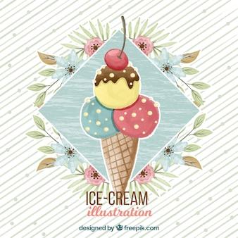 Priorità bassa dell'acquerello con il gelato e la decorazione floreale